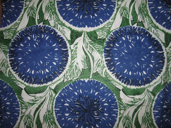 Huge scale vintage mod floral print fabric heavy polyester with sheen and drape blue green leafy