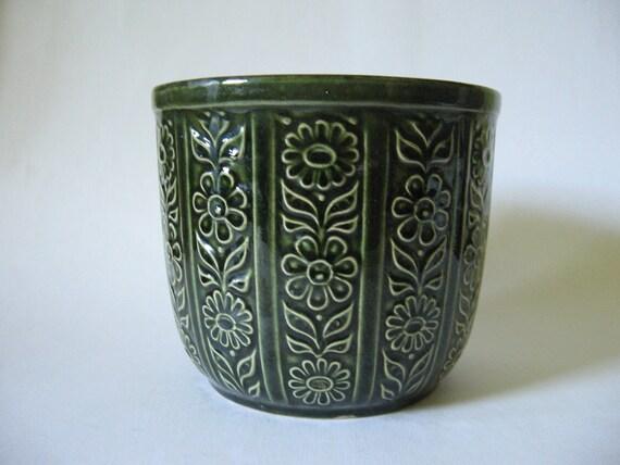 West German vintage planter 6 inch green daisy graphic floral ceramic pot