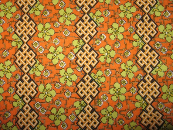 RESERVED for Carol-Vintage twin heavy cotton  duvet cover retro orange green floral graphic with zipper