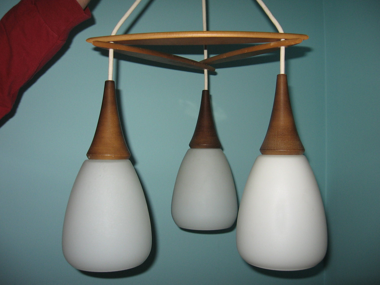 Teak hanging lamp chandelier mid century modern ceiling light for Mid century modern hanging lamp