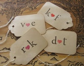 Custom Wedding Favor Tags with Initials. Unique, Shabby Chic, Rustic, Vintage-Inspired.Personalized/Date. Set of 50.