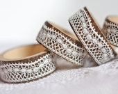 Napkin Rings Organic Bamboo Vintage French Lace Ivory White Set of Four OOAK Handmade by frenchfelt on Etsy