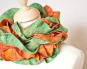 Long Ruffled Scarf Collar Hand Felted Orange Ginger Grass Green OOAK teamcamelot tbteam elitett