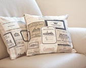 Pillow Cover French Country Vineyard 16 x 16 Oatmeal Beige Neutral Rustic Shabby Chic Vintage style Vine Labels  teamcamelot