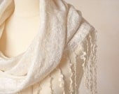 Nuno Felted Scarf Cowl Circle Scarf Wool Hoodie Scarves Natural White Lace Cream Wedding eco friendly teamcamelot elitett tbteam