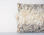 Felted Pillow Cover Fur eco friendly Country Home Decor Wood Oatmeal natural white gray Neutral Rustic Country OOAK tribal wild
