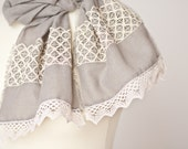Linen Scarf Vintage French Lace Eco Friendly Natural Gray Beige summer boho neutral OOAK