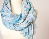Versatile Scarf Hand dyed Shawl Beach Pareo Summer Blue neutral silver nautical teamcamelot tbteam elitett
