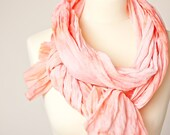 Long Scarf Hand dyed Coral Tangerine tango summer blossom coral pastel peach teamcamelot tbteam dtteam elitett
