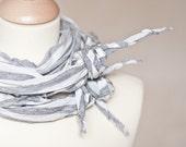 Versatile Scarf Modern Cowl Infinity Gray Stripes Geometric Minimalist Unisex men neutral silver nautical