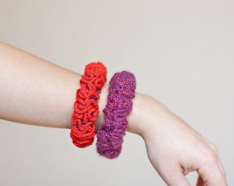 Ruffled Bracelets Bangles set of two Crochet Neon Red Purple Plum Poppy colorful holiday fashion
