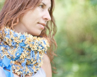 Chunky Shaggy Cowl Neckwarmer Fiber Art Blue Yellow Scarf neckwarmer winter fashion OOAK