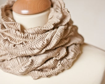 Versatile Scarf Cowl Loop Infinity Textured Natural Beige Embossed Tan safari fashion modern minimalist