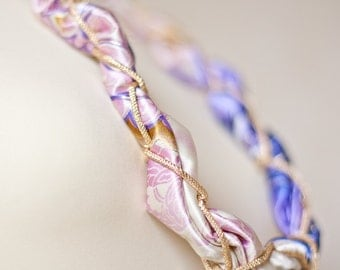Chain and Silk Long Necklace Statement Mixed Media pastel Fabric Ladies Scarf Lilac Gold