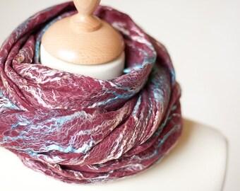 Felted Scarf Marsala Wool Silk Lace Cobweb Shawl Felt Wrap Burgundy Wine OOAK felt scarves
