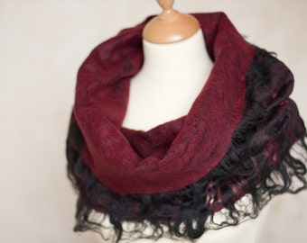 Felted Scarf Cowl Circle Cobweb Scarf Wool Hoodie Scarves Black Marsala Burgundy Wine Red Gothic woodland eco friendly