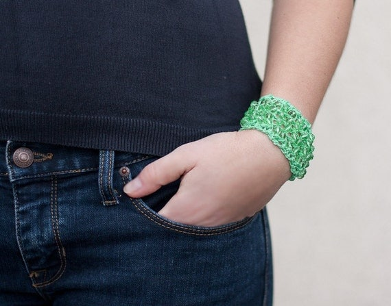 Arm Cuff Crocheted Bracelet Fresh Mint Green Glass Beads modern minimalist Free shipping