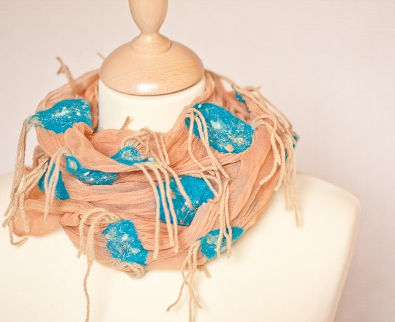 Silk Scarf nuno felted Aqua Sky Blue Turquoise, Natural Ginger Beige Abstract Texture OOAK rustic country