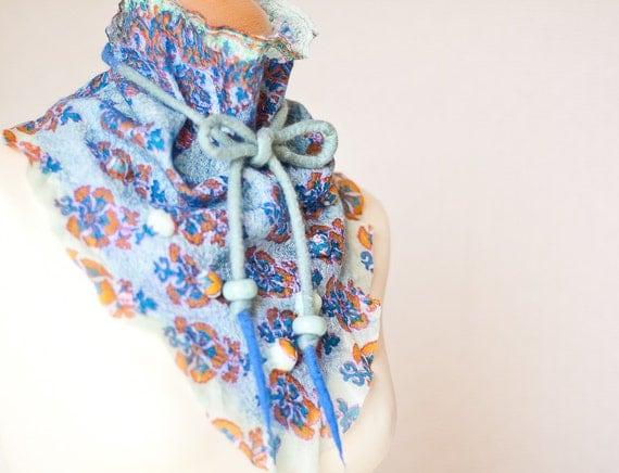 Nuno Felted Triangle Scarf / Shawl / Baktus/ Kerchief Silk Mint Orange Oriental Ethnic Teal Blue Orange OOAK