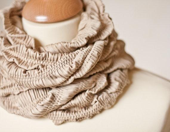 Versatile Scarf Cowl Loop Infinity Textured Natural Beige Embossed Tan safari fashion modern minimalist