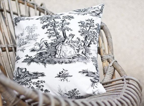 Pillow Cover Vintage Toile de Jouy French Country 16 x 16 Black and White Neutral Rustic Shabby Chic romantic teamcamelot tbteam elitett
