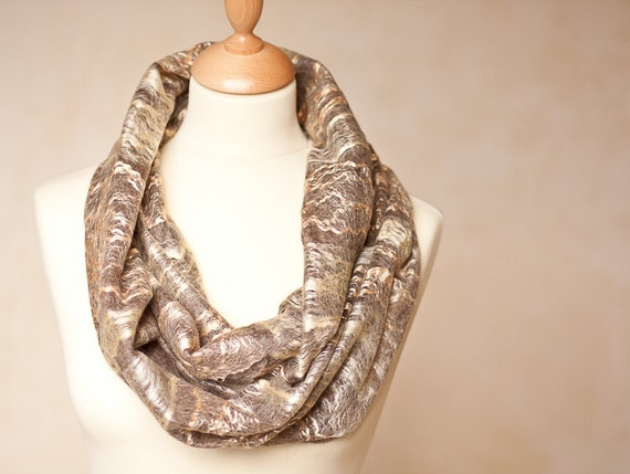 Infinity Scarf Cowl Loop Versatile Scarf Circle Cobweb Wool Silk Natural Gold Beige Brown Men Women Unisex