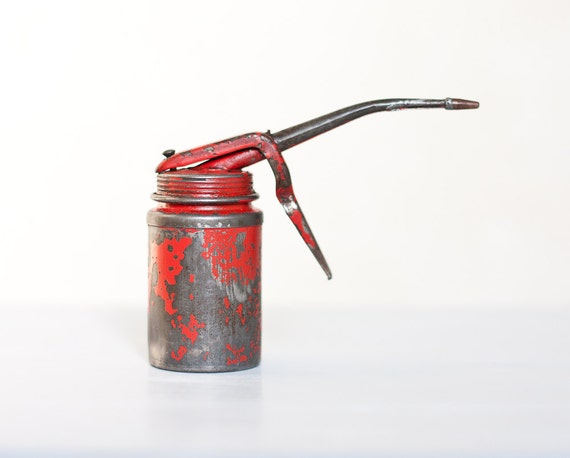 Vintage Red Engine Oil Can Atomizer Industrial Rustic Home Decor Men gift for him neutral