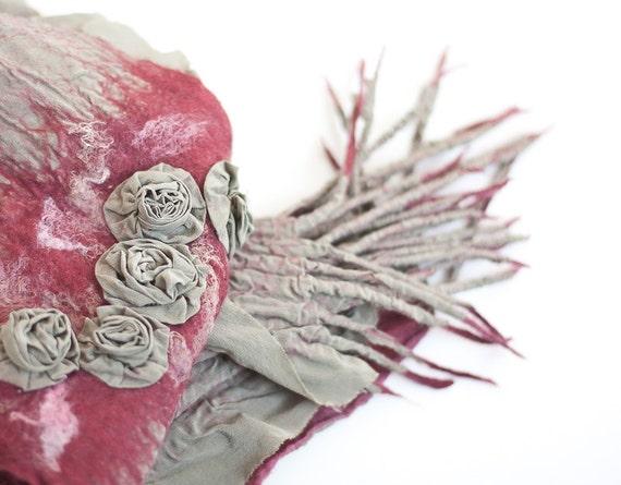 Nuno felted Scarf Silk Roses Garden Fiber Art Folk Boho Gypsy Khaki Marsala boho scarf OOAK