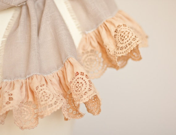Linen Scarf Vintage French Lace Natural Taupe Beige Peach Eco Friendly rustic neutral holiday OOAK