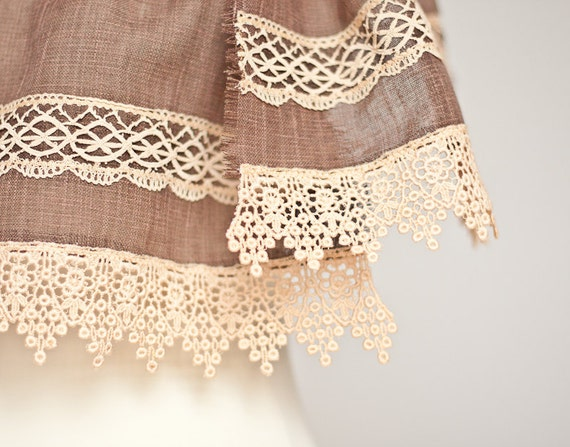Long Linen Scarf Vintage French Lace Natural Brown Beige chocolate Eco Friendly autumn rustic OOAK