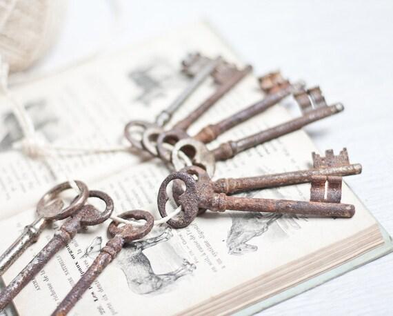 Vintage French Skeleton Keys Big Medium Lot of 9 Antique Steampunk Country Home Decor Shabby Chic