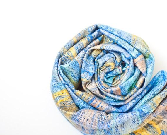 Infinity Scarf Versatile Cowl Loop Circle Scarf Wool Silk Sky Blue colorful summer sea vacation teamcamelot tbteam elitett