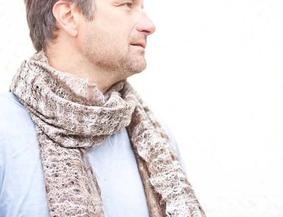 Free shipping Felted Cobweb Scarf Unisex Felt Wrap Women Men Chocolate Brown rustic eco friendly gifts for men
