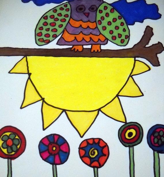 Folk Art Painting.  Sunny Days Folk Art