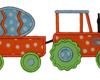 Tractor with Egg Applique