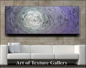 70 x 28 Custom Original Abstract Heavy Texture Purple White Silver Gray Carved Oil Painting by Je Hlobik