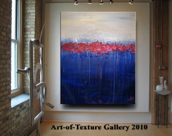 HUGE Custom Original Modern Abstract Impaston Water Texture Red Blue Oil Painting by Je Hlobik