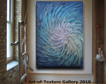 30 x 40 Original Abstract Texture Modern Blue Silver Metallic Carved Floral Sculpture Knife Oil Painting by Je Hlobik