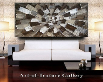 56 x 30 Custom Original Abstract Heavy Texture Brown Neutrals Grays Modern Oil Painting by Je Hlobik