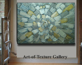 Painting Custom HUGE Original Abstract Texture Modern Metallic Beige White Gray Silver Carved Sculpture Knife Oil Painting by Je Hlobik