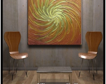 40 x 40 HUGE Custom Original Abstract Texture Modern Gold Green Copper Floral Carved Sculpture Knife Oil Painting by Je Hlobik