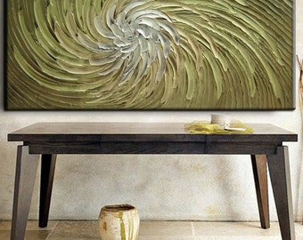 60 x 30 Custom Original Abstract Heavy Texture White Beige Khaki Green Brown Floral Carved Oil Painting by Je Hlobik