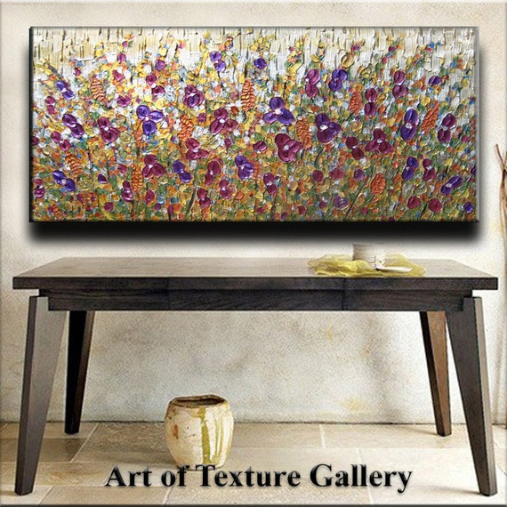 52 x 26 Original Custom Abstract Texture Carved Sculpture Flowers White Silver Purple Gold Green Modern Metallics Oil Painting by Je Hlobik