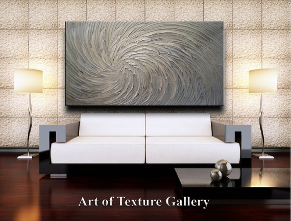 68 x 40 HUGE Custom Original Abstract Texture Modern Platinum Silver White Floral Metallic Carved Sculpture Knife Oil Painting by Je Hlobik
