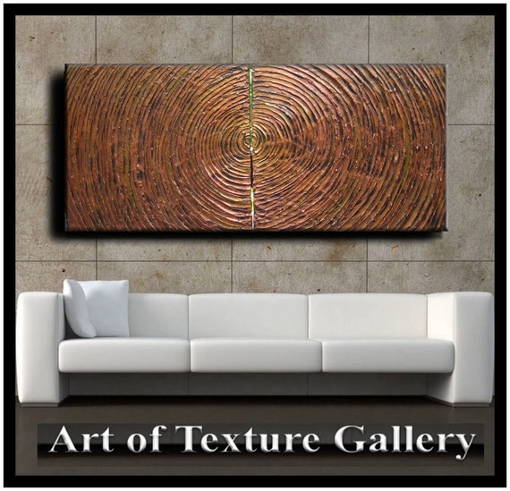 SALE 48 x 20 Huge Original Abstract Texture Carved Impasto Copper Bronze Metal Modern Metallics Oil Painting by Je Hlobik Ready to Ship