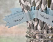 Grey Straws with Blue Flags