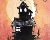 Halloween Haunted House II - ACEO original watercolor and ink mini painting