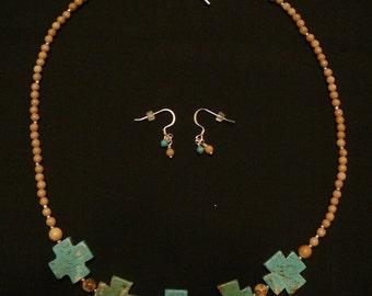 Turquoise Iron Cross Necklace