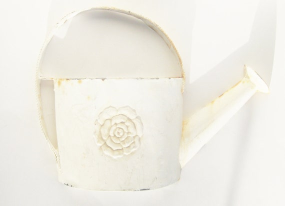 White Watering Can Cottage Chic Wall Decor