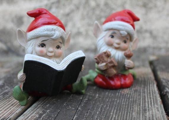 ON SALE 50% OFF - Santa's Elves Homco Christmas Figurines